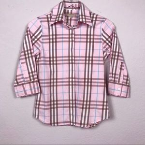 Burberry London Pink Plaid Button Down Top Sz XS